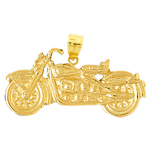 14k gold motorcycle cruiser pendant