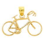 14k gold 3d bicycle pendant