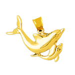 14kt gold dolphin and calf pendant