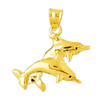 14k gold duo dolphins charm