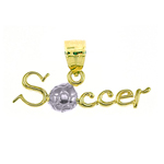 14k two tone gold soccer charm