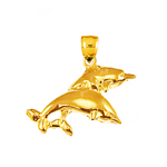 14k gold two dolphins charm