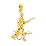 14k gold hunter and hound pendant