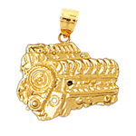 14k gold race car engine pendant