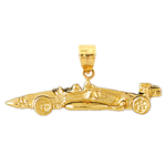 14k gold racing car pendant