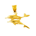 14k gold duo dolphins swimming pendant