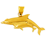 14 karat gold dolphin and calf pendant