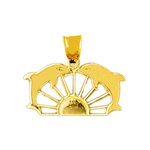 14k gold duo dolphins ship wheel charm