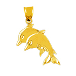14 karat gold duo dolphins charm