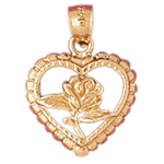 14k gold rose with heart frame charm