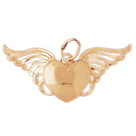 14k gold heart with angel wings pendant