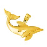 14k gold dolphin swimming pendant