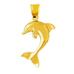 14k gold 28mm dolphin pendant