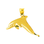 14 kt gold dolphin pendant