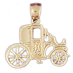 14k gold carriage coach pendant