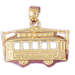 14k gold 3d cable car pendant