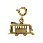 14k gold 3d cable car charm