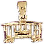 14k gold 3d trolley charm