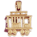14kt gold 3d trolley charm