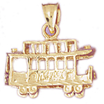 14k gold 3-d cable car trolley charm