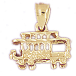 14k gold 3d cable car trolley charm