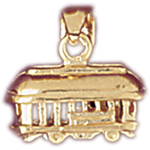 14k gold 3d tram trolley charm
