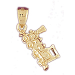 14k gold 3-d locomotive train charm