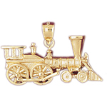 14k gold steam locomotive train pendant