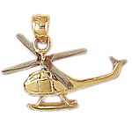 14k two tone gold helicopter charm