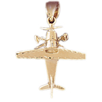 14k gold high wing airplane pendant