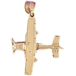 14kt gold 3d high wing airplane pendant