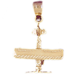 14k gold 3d high wing airplane charm