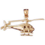 14k gold 3d rotorcraft helicopter pendant