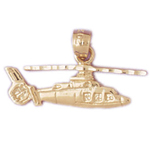 14k gold aircraft helicopter charm