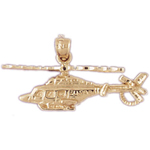 14k gold usa helicopter pendant