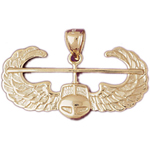 14k gold helicopter with wings air force pendant