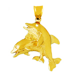 14k gold two dolphin calves pendant