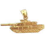 14k gold us army tank charm pendant