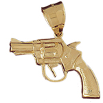 14k gold revolver firearm gun pendant
