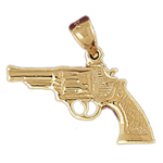 14k gold revolver gun firearm pendant