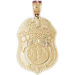 14k gold ipss police badge pendant