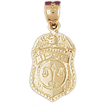 14k gold ipss police badge charm