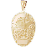 14k gold los angeles police engravable badge pendant