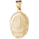 14k gold engravable police badge charm