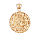 14k gold fd shield medallion
