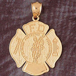 14k gold saint florian fd shield pendant