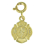 14k gold saint florian fd shield charm