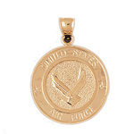 14k gold us air force medallion pendant