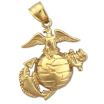 14k gold us marine corps insignia charm pendant