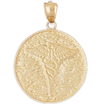 14k gold caduceus medical medallion